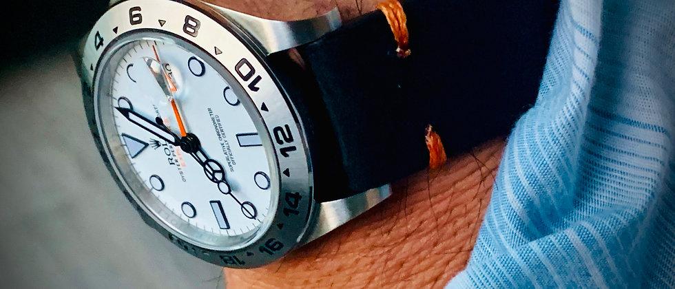 Black Thick, Crazy Horse Leather watch strap - Orange Stitching