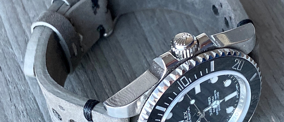 GRAY Thick, Crazy Horse Leather Racing watch strap - BLACK Stitch