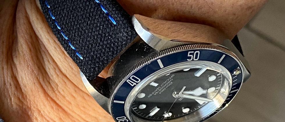 BLACK Canvas & Leather strap BLUE stitching