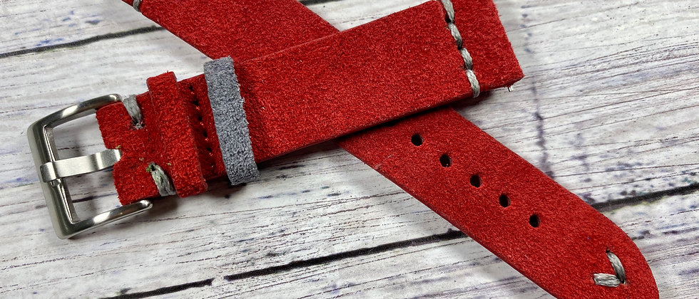 RED Suede Vintage Leather strap band GRAY stitch