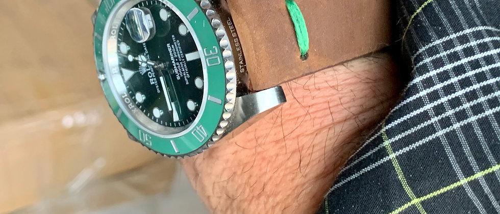 BROWN Modern, Minimalistic Distressed Leather strap GREEN stitching