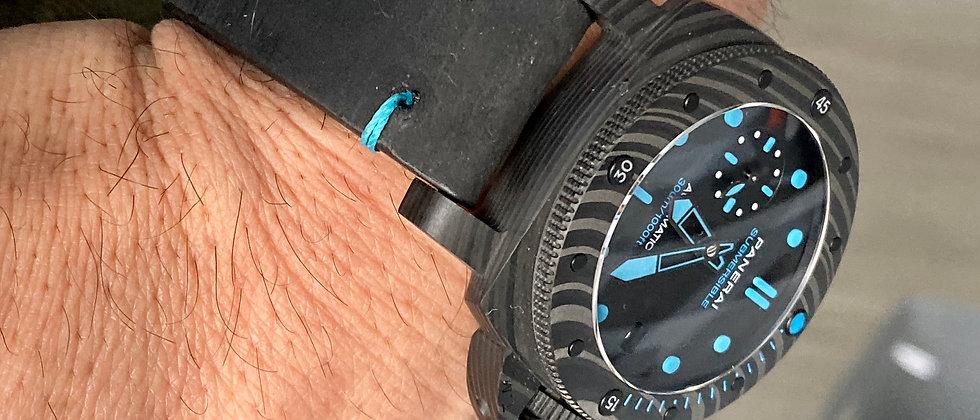 BLACK Crazy Horse Leather Watch strap Thin Light BLUE Stitching
