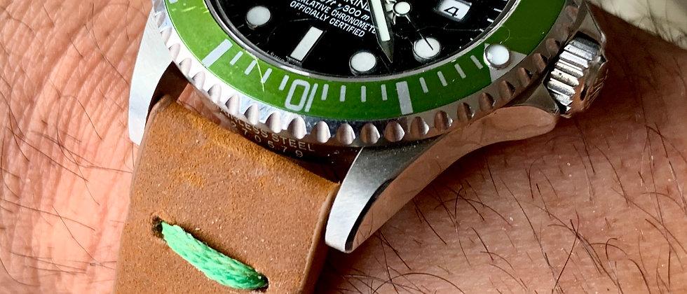 Lt. BROWN Modern, Minimalistic Distressed Leather strap GREEN stitching