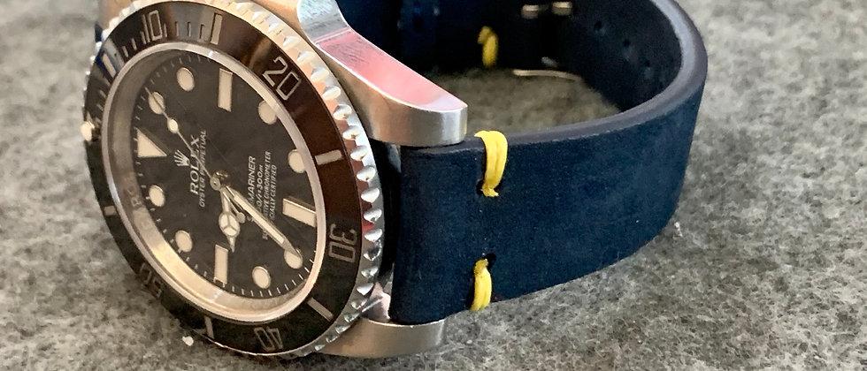 NAVY BLUE Nubuck leather strap YELLOW stitch