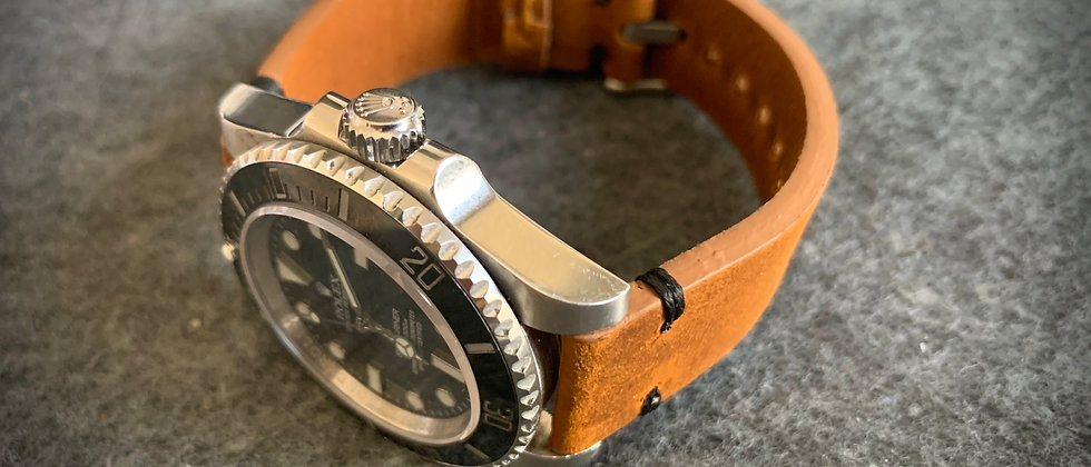 Brown Thick, Crazy Horse Leather watch strap - Black Stitching