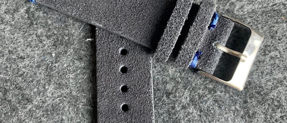 Dark GRAY Vintage suede Leather strap BLUE stitching