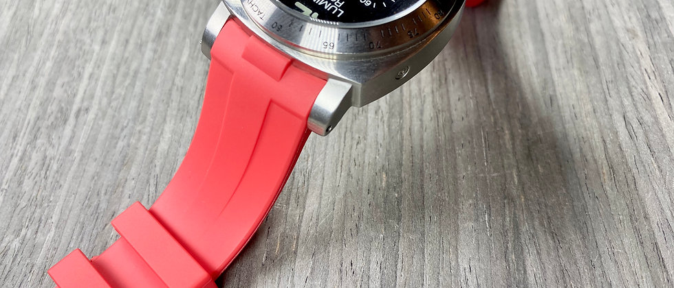 24mm RED Vulcanized Rubber Strap for Panerai Luminor - Perfect fit Gr
