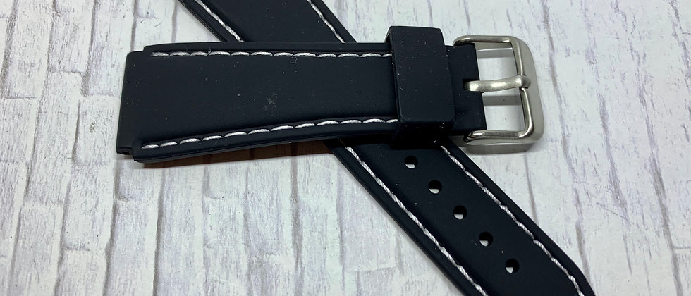 Black Rubber Flared Strap White Stitching