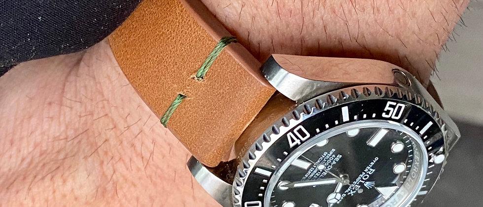 BROWN Modern Vintage Leather strap Thin GREEN stitch