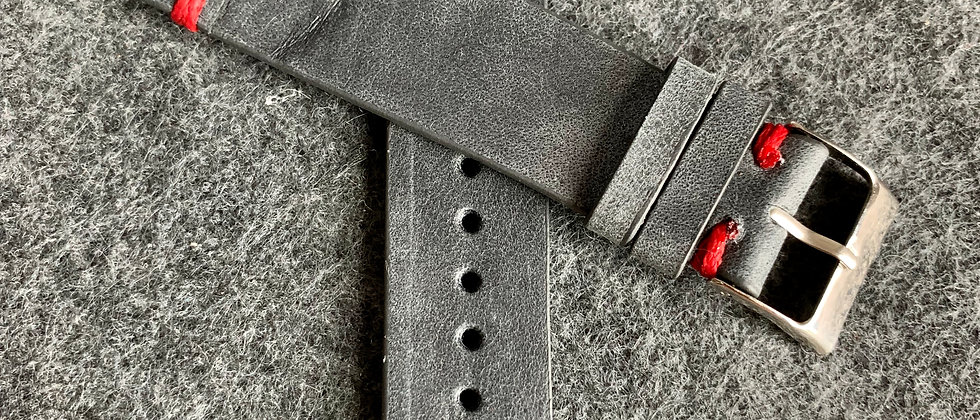 Dark GRAY Vintage Leather strap RED stitching