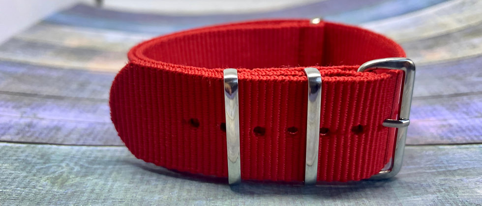 24mm Red NATO / ZULU Straps - Nylon
