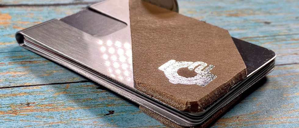 Brown Cowhide leather & Steel Minimalistic front pocket wallet