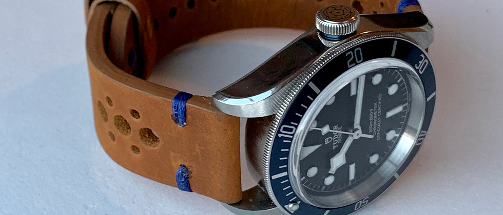 BROWN Thick, Crazy Horse Leather Racing watch strap - BLUE Stitching