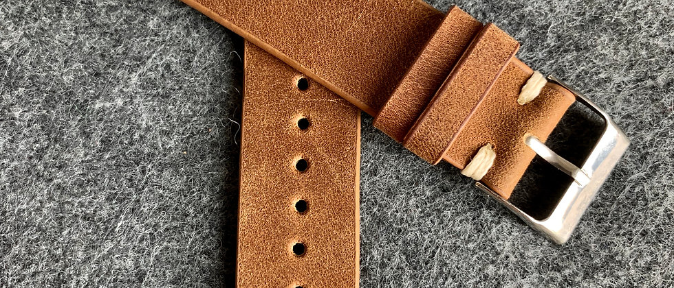 BROWN Vintage Leather strap Lined WHITE stitching