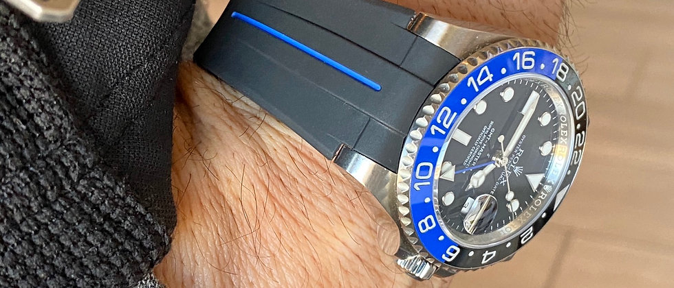 20mm Flared Vulcanized Rubber rolex GMT strap band