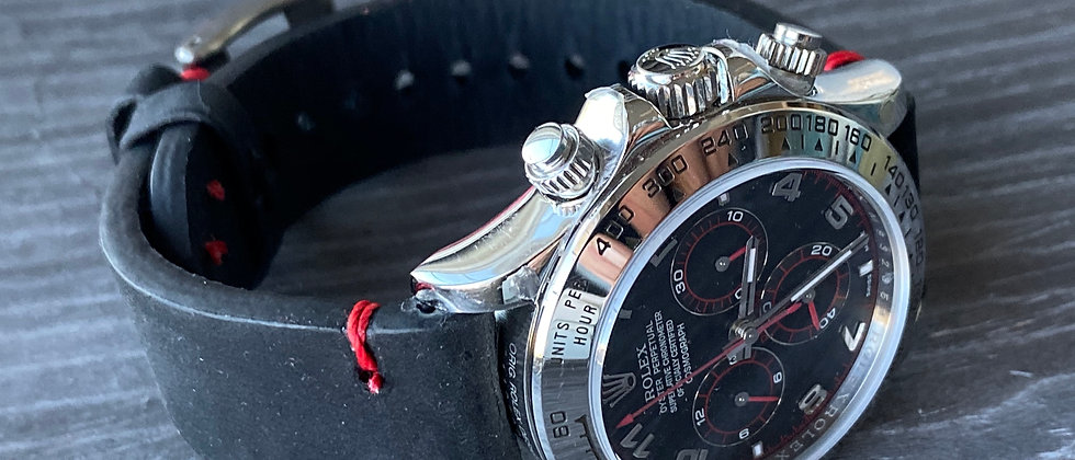 BLACK Crazy Horse Leather Watch strap Thin RED Stitching