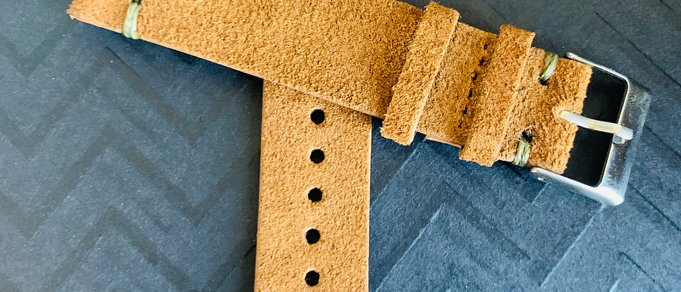 BROWN Vintage Suede Leather strap GRAY stitching