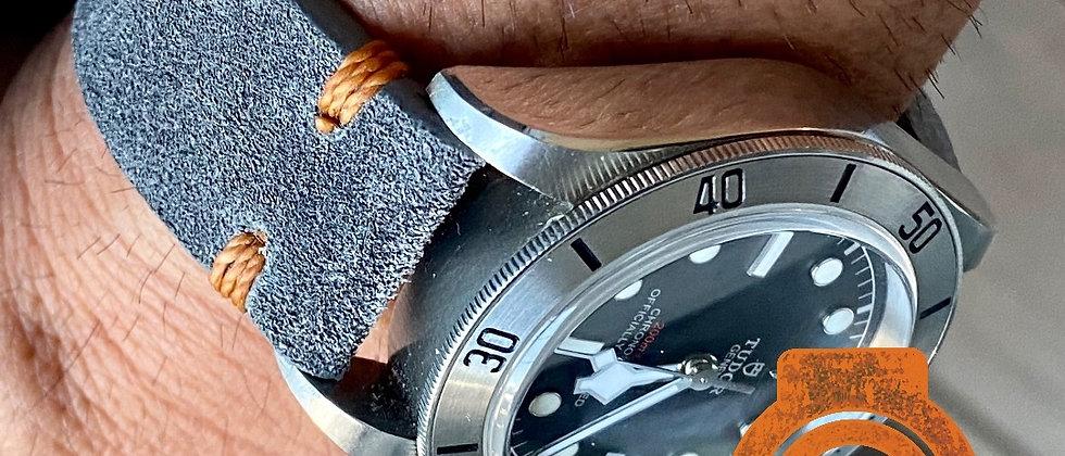 Thick DDA Distressed GRAY suede leather ORANGE stitch