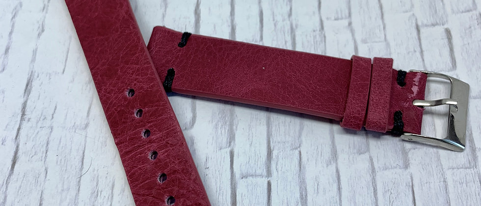 QR - Vintage Leather - Hand Made Red Strap