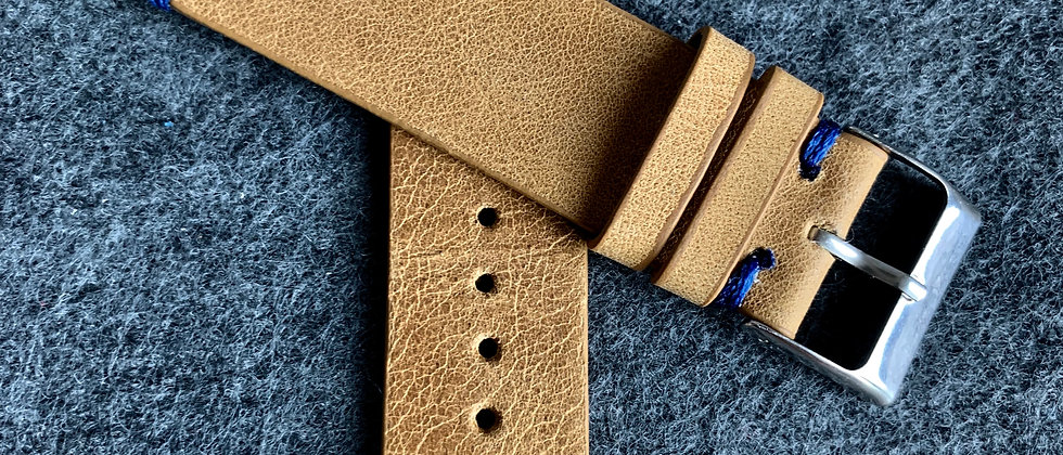 Light BROWN Modern Vintage Leather strap Lined BLUE stitching