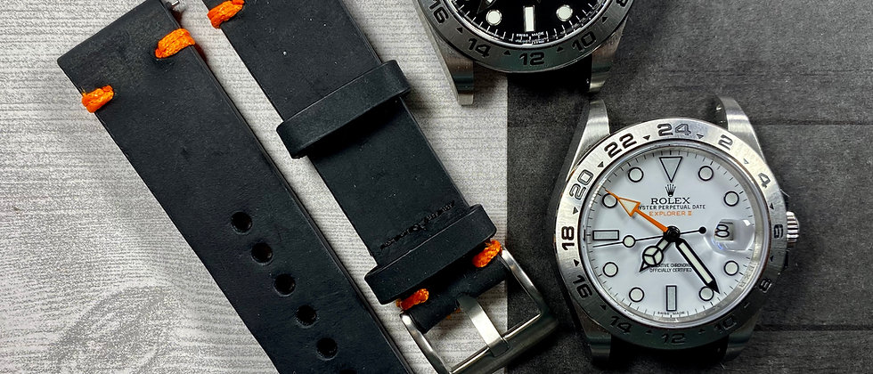 BLACK Crazy Horse Leather Watch strap Bright ORANGE Stitching