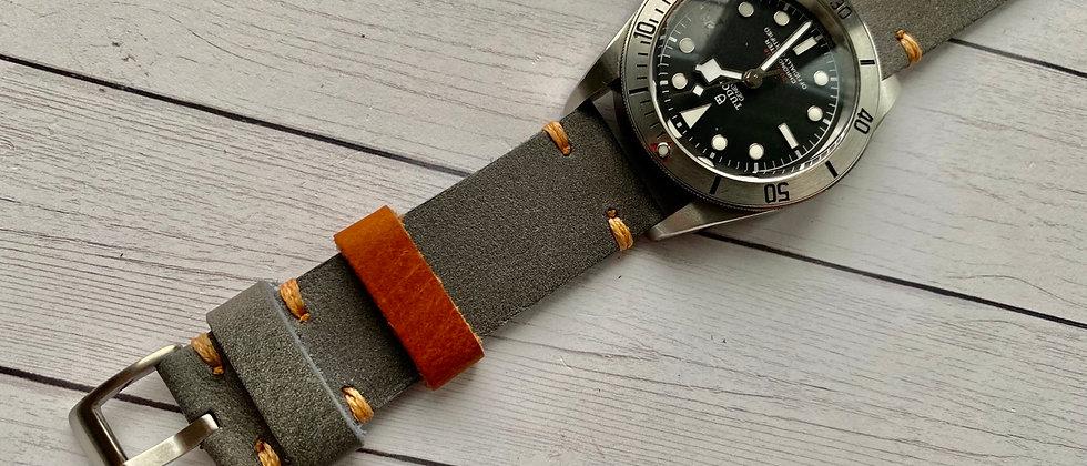 Light GRAY full grain leather strap light orange stitch