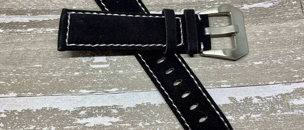 Black Suede Leather Watch Strap