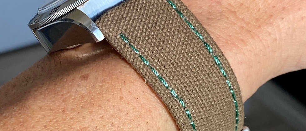 BROWN Canvas & Leather strap GREEN stitching