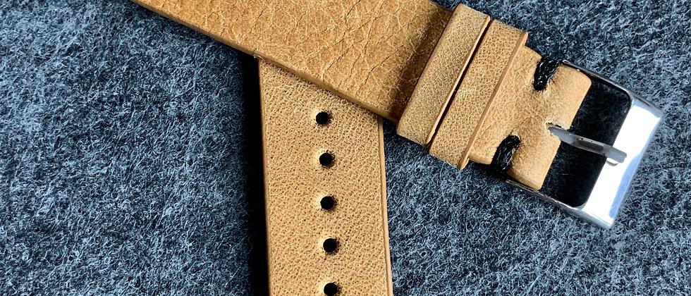 BROWN Vintage Leather strap BLACK stitching