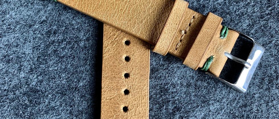 Light BROWN Modern Vintage Leather strap GREEN stitching