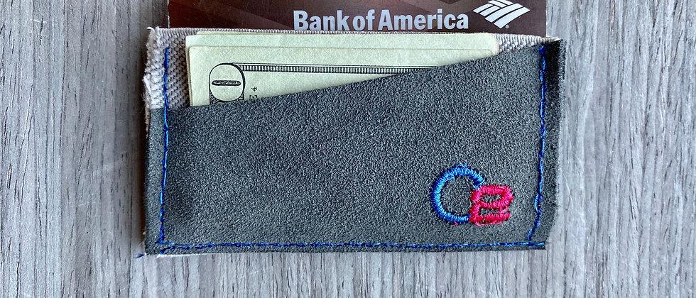 SUEDE Gray Italian Calfskin Full Grain Leather Minimalistic wallet