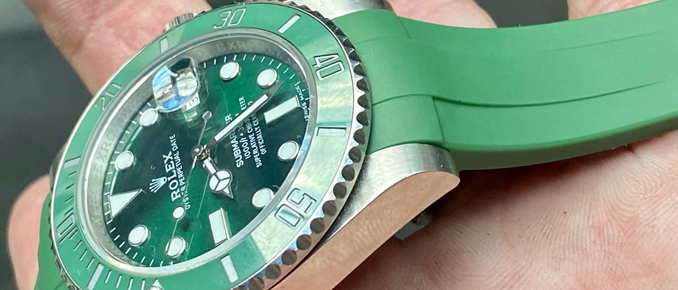 20mm GREEN Vulcanized Rubber straps for Rolex wTches