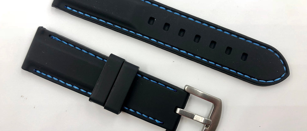 Black Rubber Strap Blue Stitching