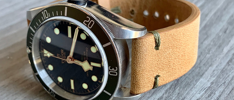Tan/Beige Crazy Horse Leather strap/band Olive GREEN stitch