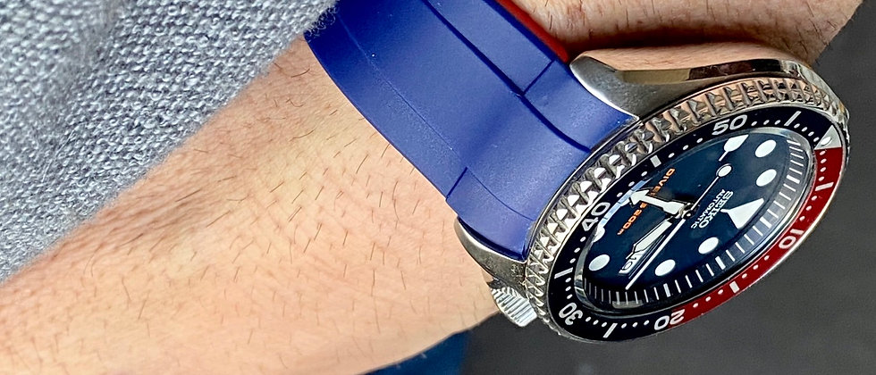 22mm BLUE/RED Vulcanized Rubber strap for Seiko watches