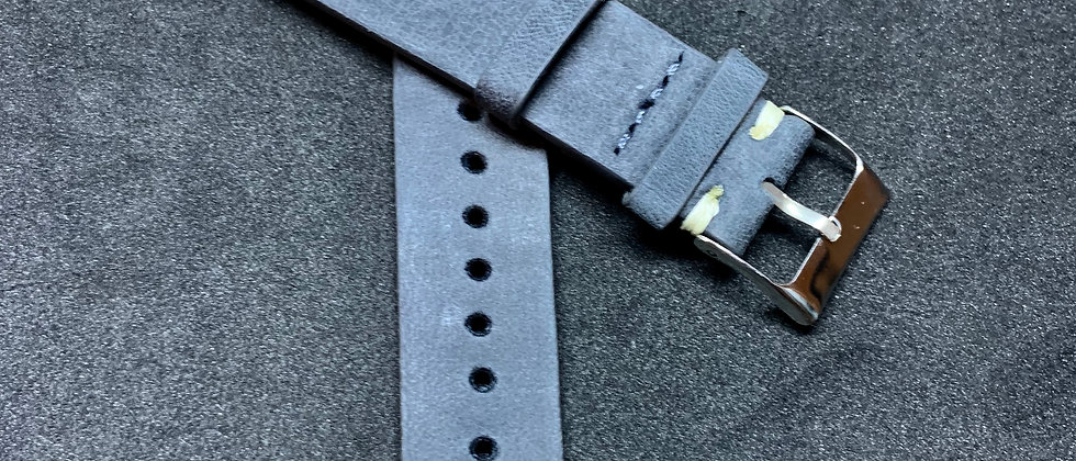 Dark GRAY Vintage Leather strap WHITE stitching