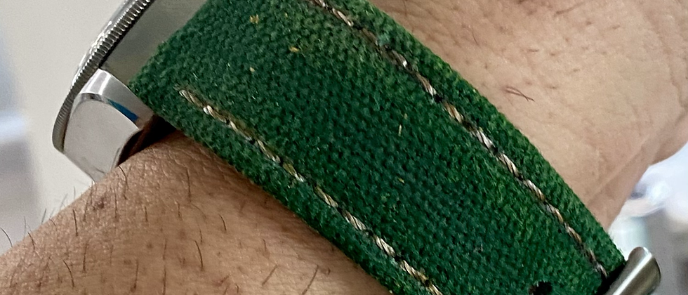 GREEN Canvas & Leather strap - 4mm thick