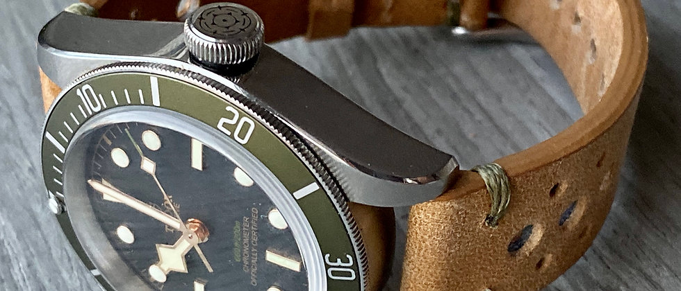 TAN Thick, Crazy Horse Leather Racing watch strap - OLIVE GREEN