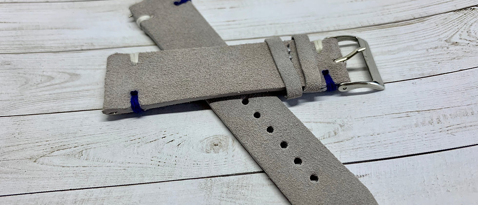 Vintage Suede Leather - Hand Made Light Gray