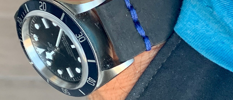 Black Thick, Crazy Horse Leather watch strap - Blue LINE Stitching