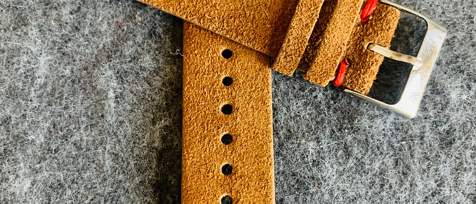 QR - BROWN Vintage Suede Leather strap RED stitching