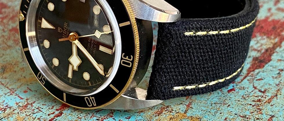 BLACK Canvas & Leather strap YELLOW stitch