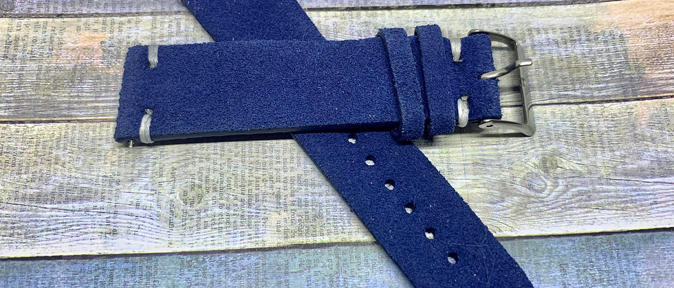 Vintage Suede Leather - Hand Made Blue