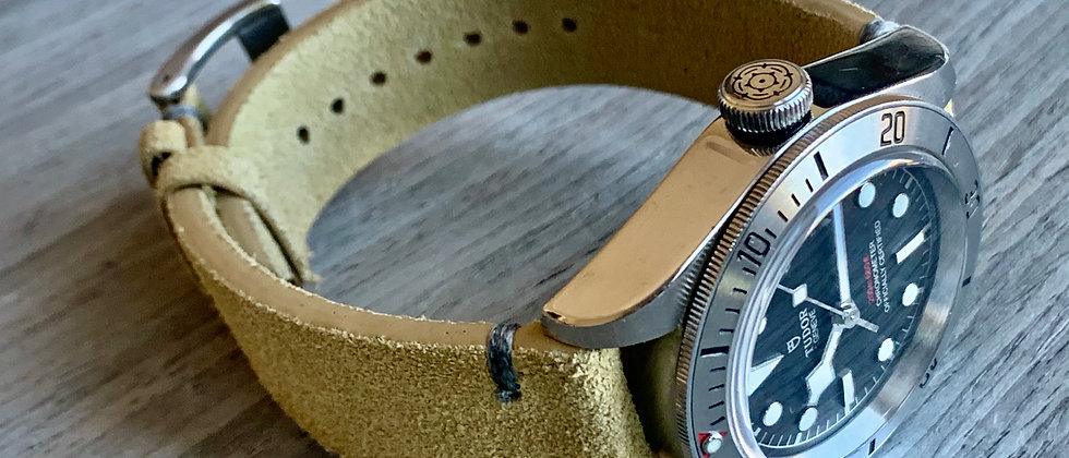 TAN Suede Vintage Leather strap Tan stitching