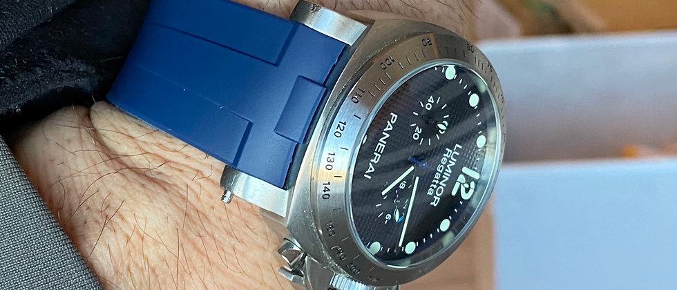 24mm BLUE Vulcanized Rubber strap for 44mm PANERAI Luminor watches