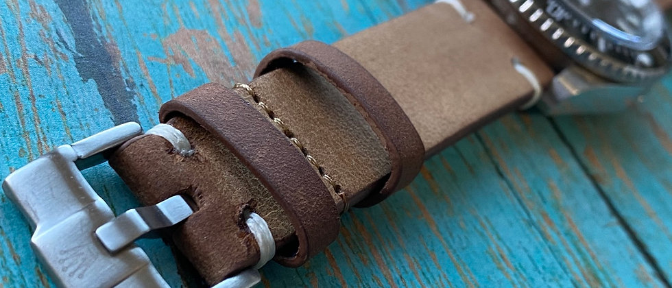 Antique BROWN strap WHITE stitched leather strap