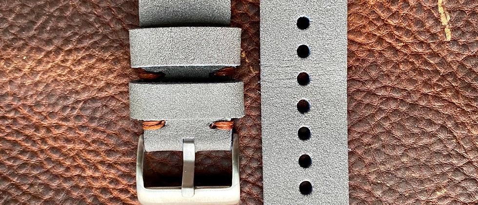 GRAY Top Grain Vintage leather strap BROWN stitch