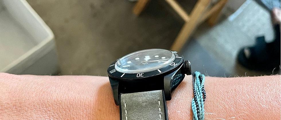 22mm Waterproof GRAY Top Grain Leather Watch strap Rubber Bottom WHITE Stitch