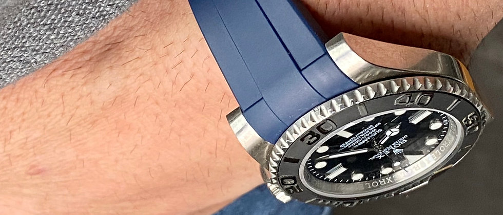 20mm Blue Vulcanized Rubber Strap for Rolex watches