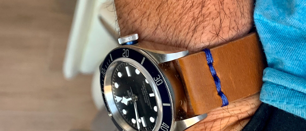 BROWN, Thick, Crazy Horse Leather watch strap - BLUE Stitching